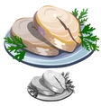 Delicious fish steak with salad on a plate vector image vector image