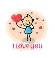 doodle cartoon figure i love you vector image vector image
