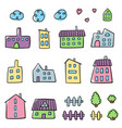 doodle home set color fun houses vector image vector image
