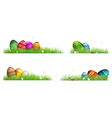 Easter eggs with spring flowers in the grass vector image vector image