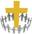 Family Circle Christian Community Cross vector image vector image