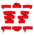 folded ribbon banner set collection red label vector image vector image