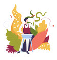 food bbq outdoor man cooking meal surrounded by vector image vector image