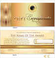 Gold Gift certificate template vector image
