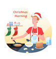 guy is cooking pancakes vector image
