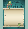 halloween blank paper scroll with zombie vector image