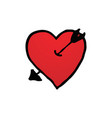 hand drawn of red heart symbol with arrow logo in vector image