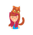 happy smiling girl and her cat adorable pet vector image vector image