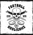 hooligan skull emblem with two crossed knives vector image