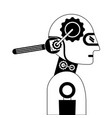 humanoid robot profile with wrench vector image vector image