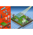 isometric termo solar plant in production of vector image vector image