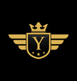 letter y shield wing vector image vector image