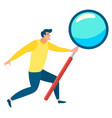 man with magnifying glass in hands image vector image vector image