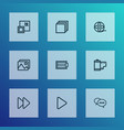 media icons line style set with categories fast vector image