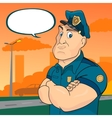 policeman on a street background vector image vector image