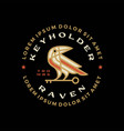 raven crow key bird badge logo icon vector image