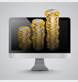 realistic computer with money coins vector image vector image