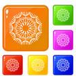 round dandelion icons set color vector image vector image