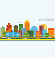 san diego california skyline with color buildings vector image