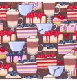 Seamless coffee and cakes vector image vector image