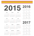 Set of Spanish 2015 2016 2017 year calendars vector image vector image