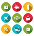 Shopping flat icons collection vector image vector image