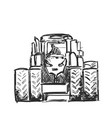 sketch of tractor hand drawn agricultural vector image vector image