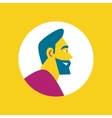 Smiling bearded man round avatar icon vector image