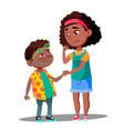 smiling girl takes hand of shy afro american boy vector image vector image