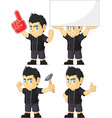 Spiky Rocker Boy Customizable Mascot 13 vector image