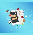 super sport on smartphone screen sport equipment vector image