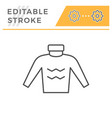 sweater editable stroke line icon vector image vector image