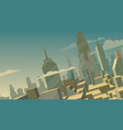 tilted cartoon cityscape vector image vector image