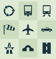 transportation icons set with pickup train hump vector image vector image