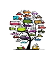 Tree with cars transportation concept for your vector image vector image