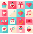 Valentine day flat icon set with long shadow vector image vector image