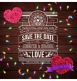 Wedding Invitation Design on Wooden Background vector image