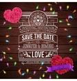 Wedding Invitation Design on Wooden Background