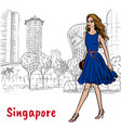 woman on orchard road in singapore vector image vector image