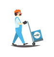 worker carring boxes with canned fish on a cart vector image