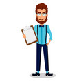 young bearded hipster man in glasses vector image vector image