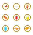 tasty food icons set cartoon style vector image