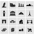 black landmarks icon set vector image