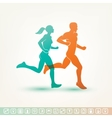 running man and woman silhouette fitness tracker vector image
