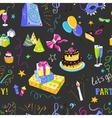 Colored hand-drawn party icon pattern vector image
