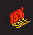 15 percent off sale red isometric object 3d vector image vector image