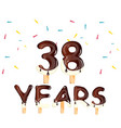 38 years birthday celebration greeting card vector image vector image