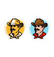 american cowboy sheriff logo or label farmer vector image