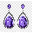 amethyst earrings mockup realistic style vector image