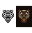 angry wolf head in two styles black and colorful vector image vector image